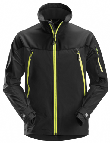 Snickers 1940 FlexiWork Softshell Stretch Jacket (Black / Neon Yellow)